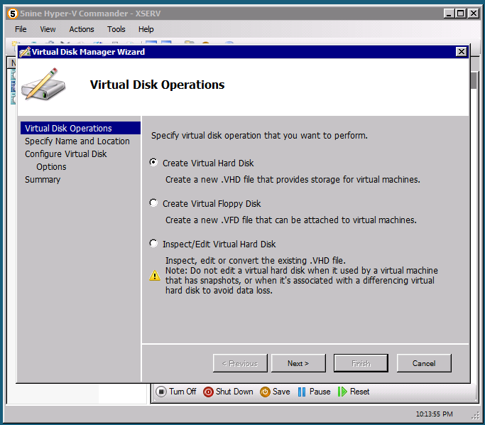 Virtual Disk Manager provides a simple wizard interface that allows creating and managing virtual hard and floppy disks.
