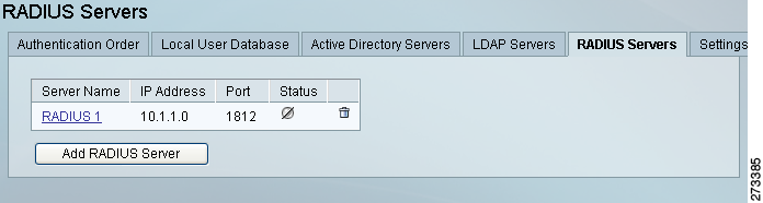 Configuring RADIUS Authentication Chapter 4 Step 4 Modify settings as needed: Server IP Address Enter the IP address or domain name of the RADIUS server.