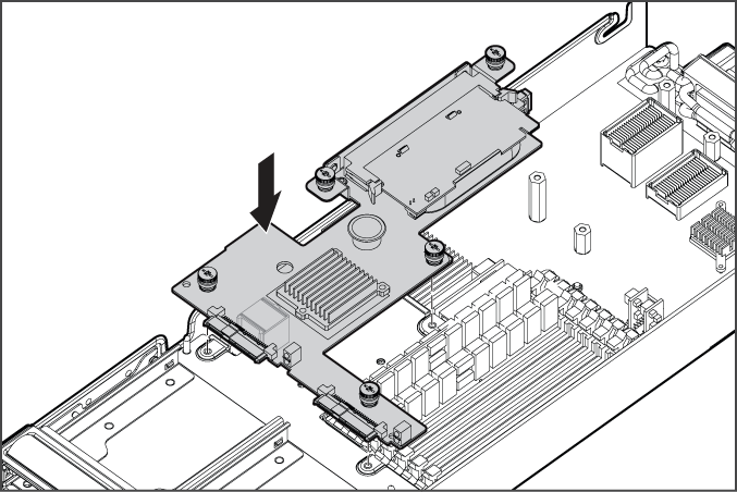 8. Install the Smart Array E200i cache module. 9. Install the hard drive backplane. Press down on the connector to seat the board. 10.