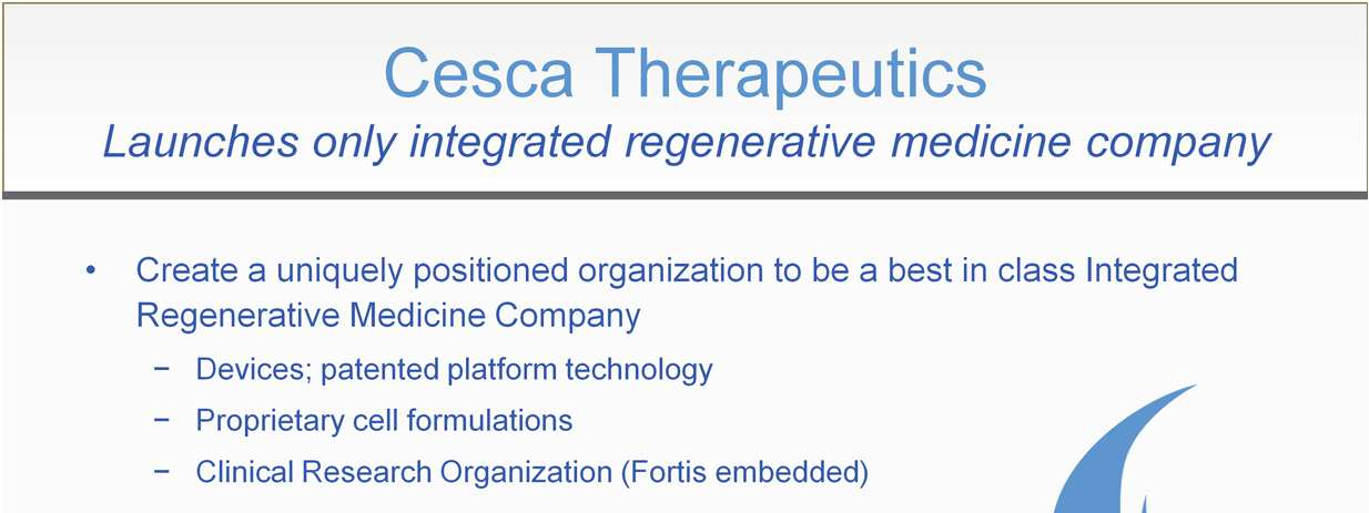 CescaTherapeutics is (to our knowledge) the first company to integrate all of the essential: 1. Cell friendly devices, 2.