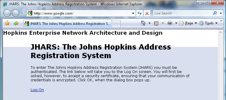 You are now on the network! JHARS Registration Required for First-Time Users: Step 18: Open a new web browser window.