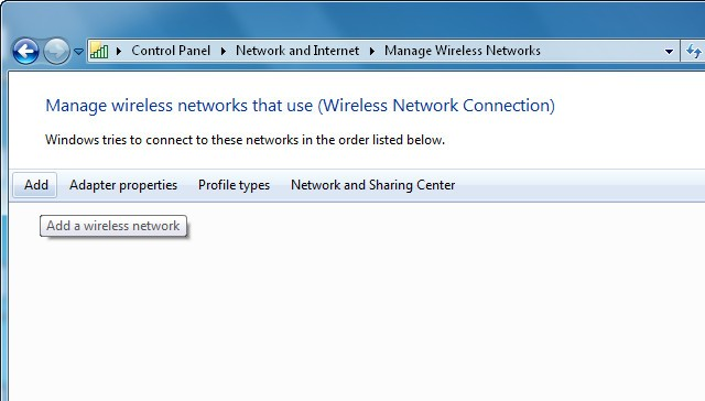 Step 3: Select Manage wireless networks.