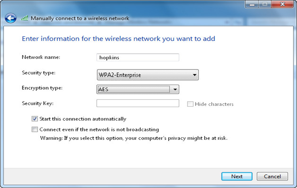 Step 5: Select Manually create a network profile. Step 6: For Network name, enter hopkins.