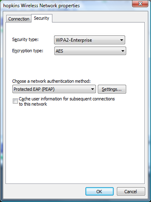 Step 9: For Security type, select WPA2-Enterprise. For Encryption type, select AES.