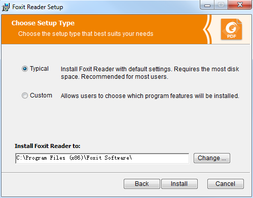 Choose one of the setup types as needed: A. Typical installs all features by default but requires more disk space. B.