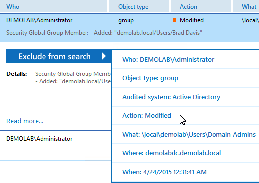 7. See How Netwrix Auditor Enables Complete Visibility Filter Value Specify your Active Directory domain name.