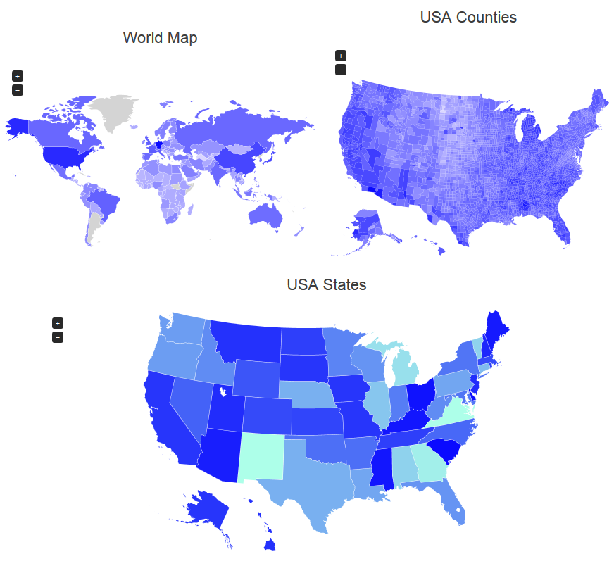 World Map, USA Country, USA
