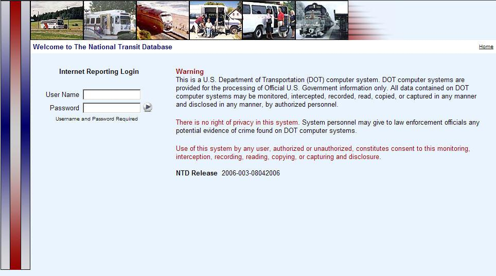 Internet Reporting Login Federal Transit