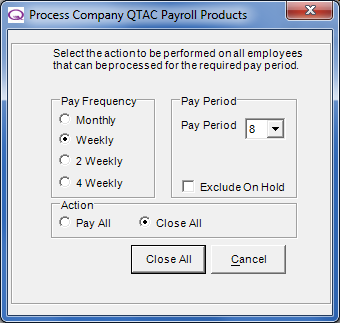 Absence Recording. Opens the Absence Recording window for the highlighted employee. Print Payslips.