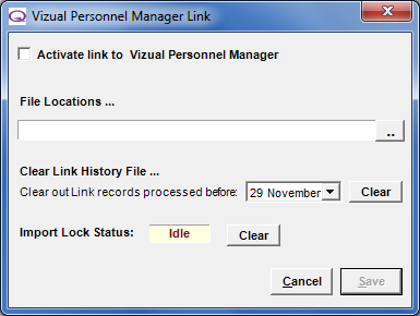 Personnel Manager Only available to Vizual Personnel Manager users.