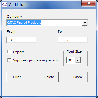 Audit Trail The Audit Trail option prints an audit report, which will show all changes made in the payroll software.