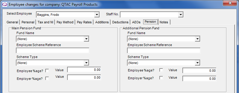 Pension The Pension tab is used to select a Main Pension Fund or an Additional Pension Fund. Employee and employer contributions can be entered either as an amount or a percentage.