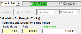 Net to Gross Calculation When you setup an employee and specify the employees pay rate under the Employee > Employee Maintenance Pay Rates tab, you can set whether the employee is paid on a Gross to