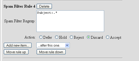 8) Add one more rule to reject Discard messages where the Subject:.