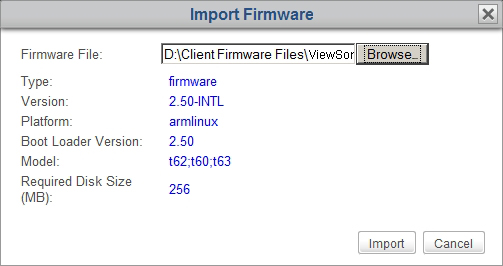 Establishing a Basic Administration Environment 6. Click Import to start importing the selected firmware file. 7. On completion, the imported firmware file appears as an entry in the Firmware list.