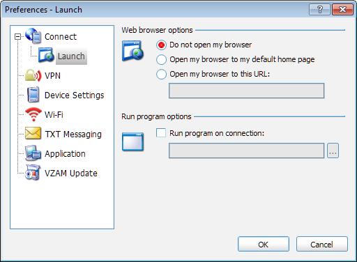 VZAccess Manager User Guide Launch To access Launch Preferences, select Preferences from the Options menu. Then, select Connect > Launch in the column on the left of the Preferences page.