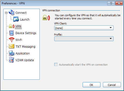 Chapter 6 Preferences Run program on connection Check this box if you want to automatically run a particular application when you use VZAccess Manager to establish a Wi-Fi or WWAN connection.