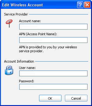 VZAccess Manager User Guide The APN, user name, and password for this network must be obtained from the wireless provider whose network you are trying to access.