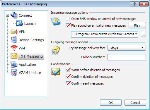 Chapter 6 Preferences Incoming Message Options Open SMS window on arrival of new message If this box is checked, VZAccess Manager will automatically switch to the TXT Messaging view when a new