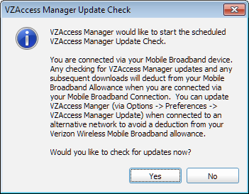 VZAccess Manager User Guide If you do not want VZAccess Manager to automatically check for updates, select Never from the Check for updates dropdown.