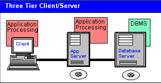 "Two-tier Client/Server The above example is ""true"" client/server because both sides participate in the business processing. The database management system (DBMS) runs in the server."