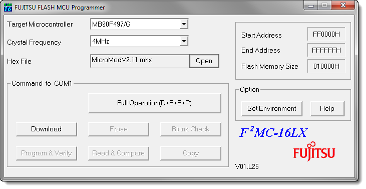 . Under Windows, start the FUJITSU FLASH MCU Programmer (FMCLX).. Select Set Environment in order to check that the indicated serial port is corresponding to the actually used one. Confirm with OK.