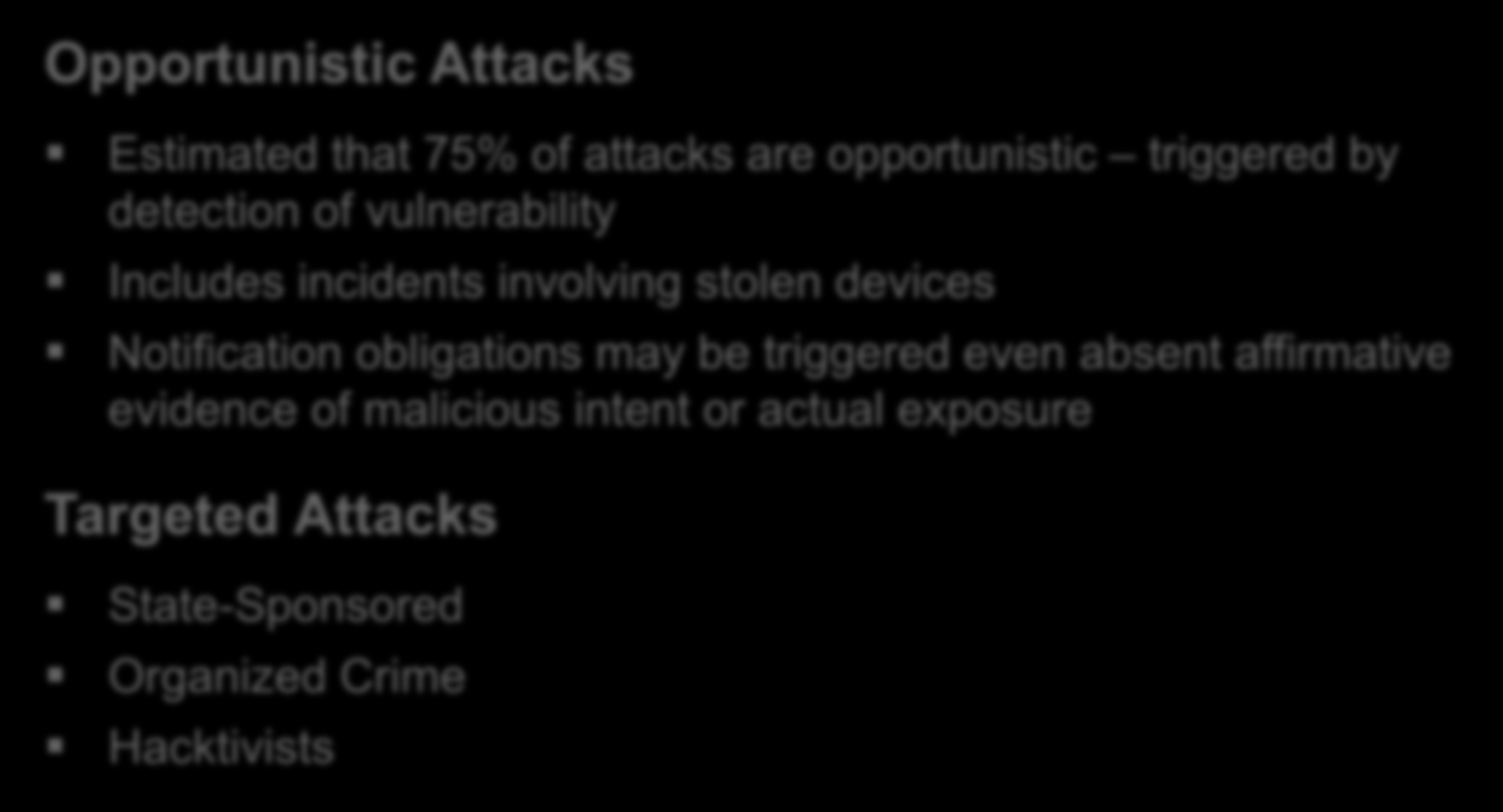 CYBER THREAT LANDSCAPE Hacking Attacks Opportunistic Attacks Estimated that 75% of attacks are opportunistic triggered by detection of vulnerability Includes incidents involving stolen