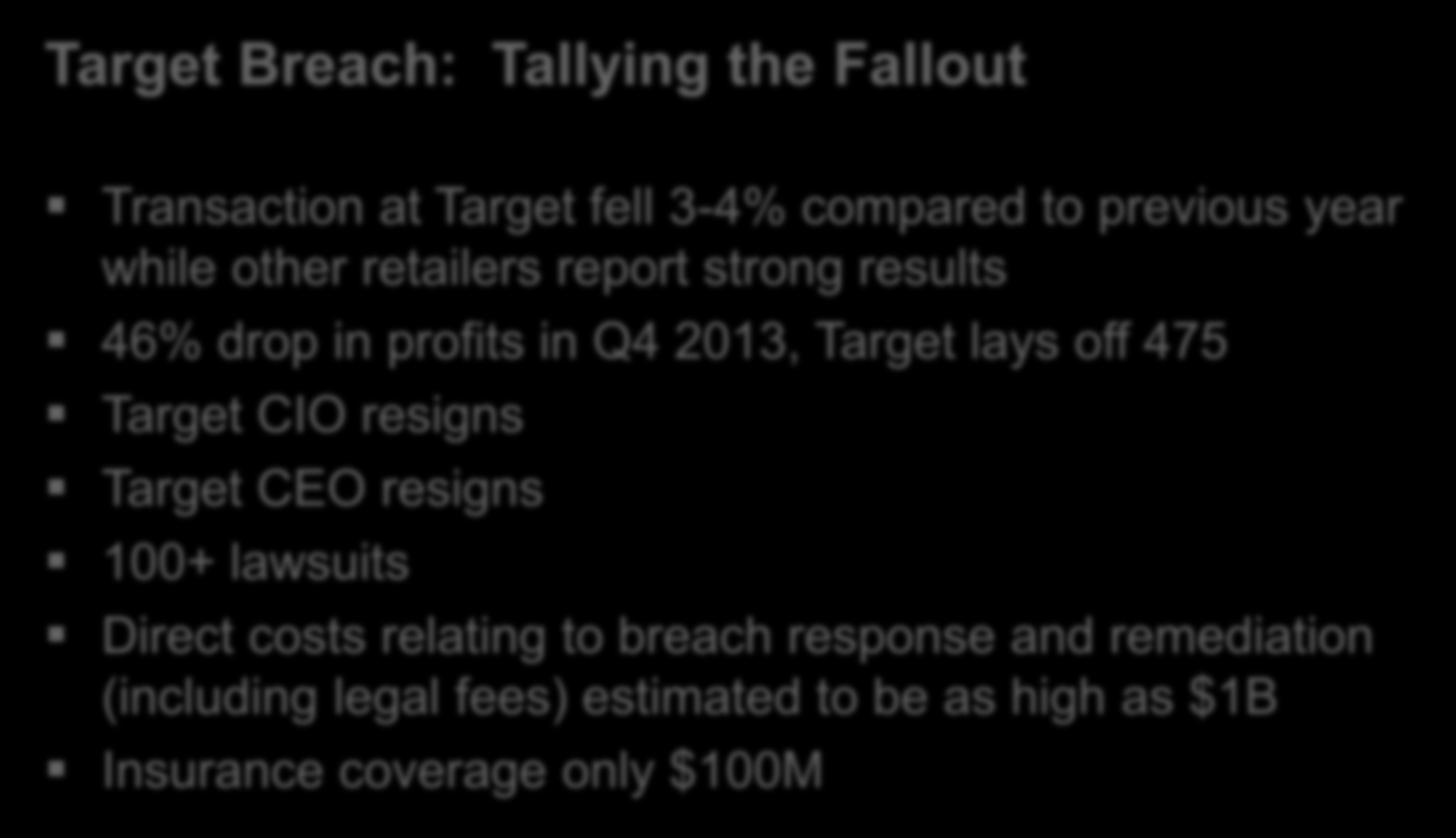 CYBER THREAT LANDSCAPE Lessons Learned from the Target Breach Target Breach: Tallying the Fallout Transaction at Target fell 3-4% compared to previous year while other retailers report strong results