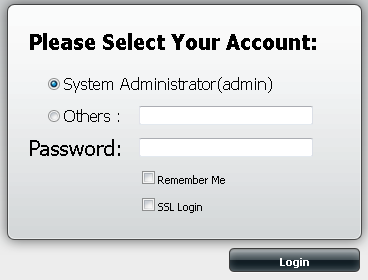 Step 3: The DNS-320 login screen will appear, by default if you did not