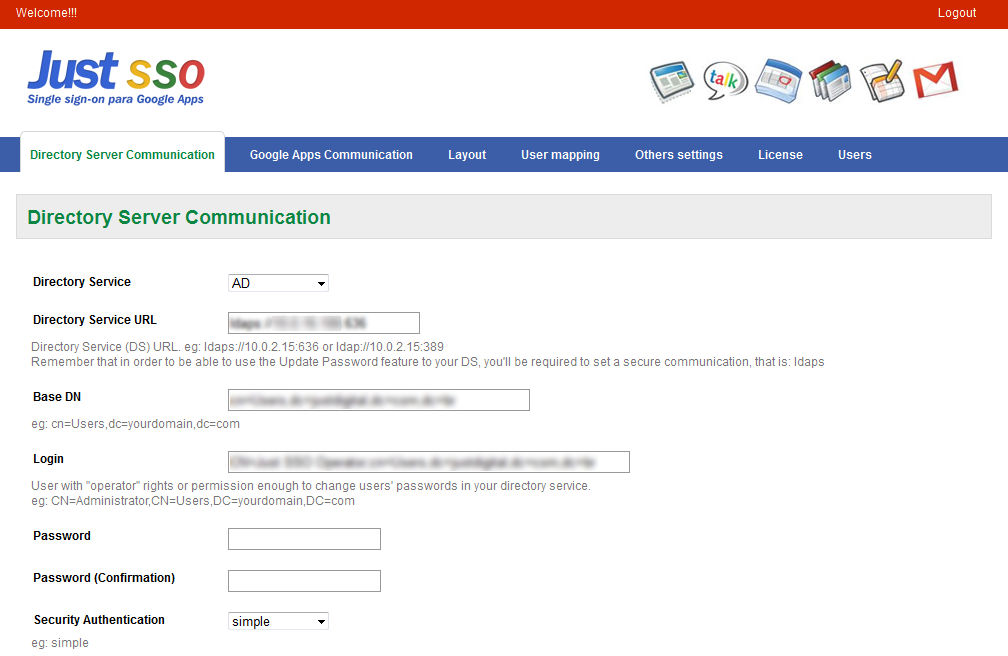 Step 2 JustSSO configuration: communication with Directory Service and Google Apps Configure JustSSO is quite simple.