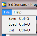 Saving and Loading Programs Once you have selected the parameters to program you can choose to save those settings to use at another time using the File menu in the