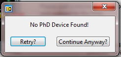 *Note: The user can continue without a PHD Device connected to create programming profiles for later use. If there is no Programmer connected, a Connect to PHD?