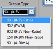 4. Select the Output Type: The output type is selected based on the Unit Type chosen in Step #4. *NOTE: The desired programming will not be achieved if the incorrect Output Type is choosen.