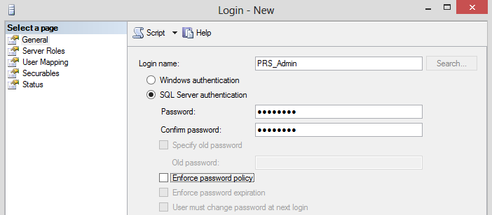 Figure 3.1 Creating a SQL user III. Password Reset Server MSI Make sure you have the prerequisites installed before attempting to setup Password Reset Server. A.