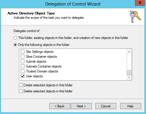 For Delegate control of, select the Only the following : option and check