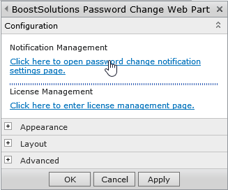 Password Change 3.0 User Guide Page 11 The settings page can also be accessed directly via the Password Change Web Part. Click Edit Web Part.