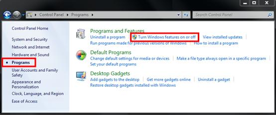 3. Select Turn Windows features on or off.