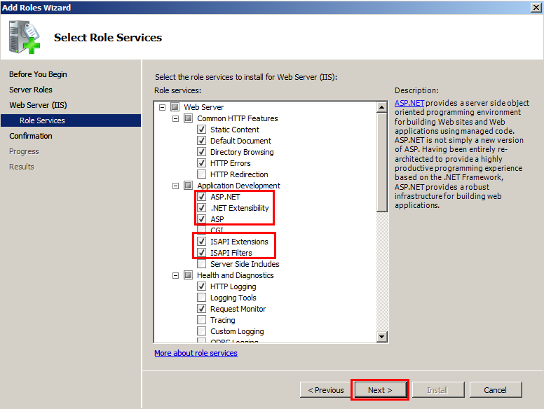 13. Once you select ASP.NET, a window will pop up to ask if you wish to add role services required for ASP.NET. Select Add required Role Services to proceed.