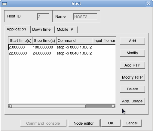 Fig. 5 The window to define node parameters In this example: host defining applications (traffic generators setting) Then the user may double-click the Node editor in the dialog box to hale the