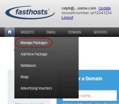 Fasthosts database management screen From the database management screen you are able to create and edit your databases. Step 1 Log in to your account and select Manage Packages from the Website menu.