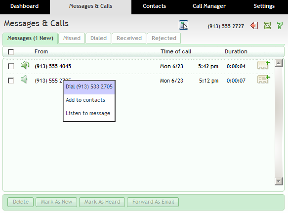 5.1.5 Call Back To call back a caller who left you a voice message using Click To Dial, follow these steps: 1. Right click on the number of the caller. 2. Select the Dial option. 5.1.6 Add Caller to Contacts To add the number of someone who left you a voicemail to your Contacts, follow these steps: 1.