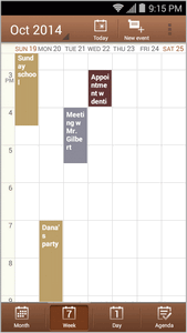 The color for the events indicate the type of calendar that includes the event. To find out which calendar each color represents, touch > Calendars to display.