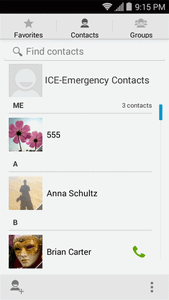 From the home screen, touch > Contacts. You will see the Contacts list.