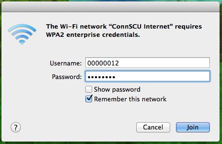 Once the Wi-Fi bars appear, click the airport icon again and choose the ConnSCU Internet menu item. 3.