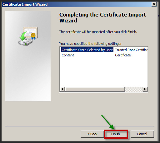 Select the Trusted Root Certification Authorities folder and click OK. 17.