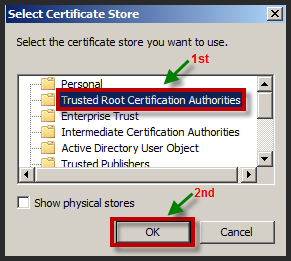 15. On the Certificate Store screen, select the Place all certificates in the