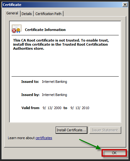 19. If prompted with the following Security Warning, click Yes to continue. 20. Click OK to The import was successful. Message. 21. Click OK to exit the Certificate dialog box. 22.