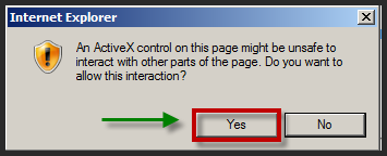 23. If prompted with the following Internet Explorer ActiveX control message, click Yes to continue. 24.