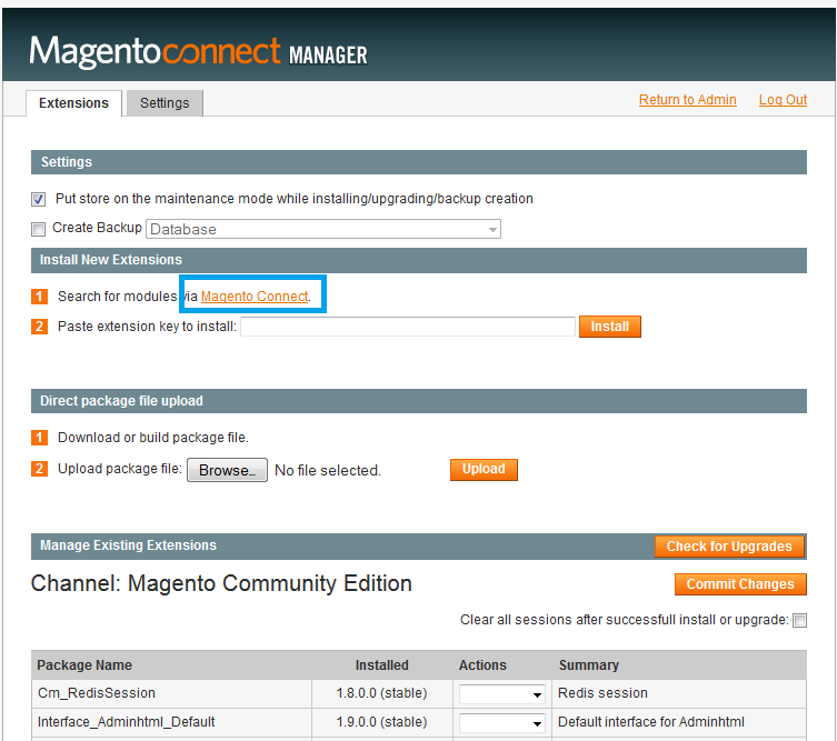"3. In the Magento Connect Manager, click on ""Install New Extensions""->""Search for modules via Magento Connect"" and search"