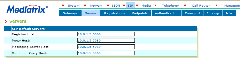 Configuring SIP (Menu SIP Servers) In this section the IP address of the VOIspeed 6 server is configured so that the Mediatrix gateway routes the incoming calls.
